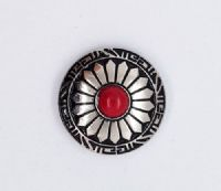 30mm Silver & Red Concho